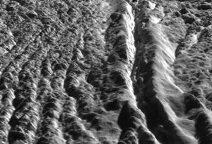 Oblast Damascus Sulcus na měsíci Enceladus