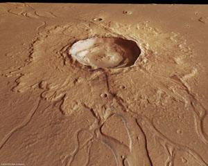 Detailní snímek kráteru o průměru 20 km