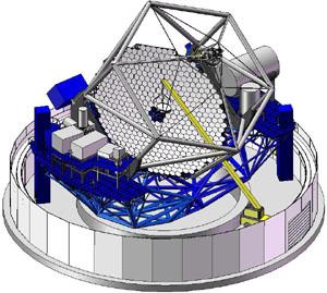 Struktura dalekohledu TMT o průměru 30 m