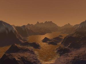 Jezera na Titanu v představě malíře.