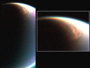 Obrovský mrak v polární oblasti Titanu.