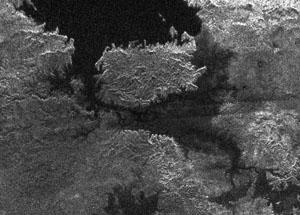 Ostrov v jezeře na Titanu