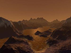Jezera na Titanu - představa malíře