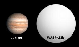 Porovnání velikosti exoplanety WASP-12b s Jupiterem