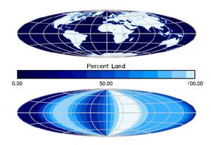 Mapa Země a měření sondy Deep Impact