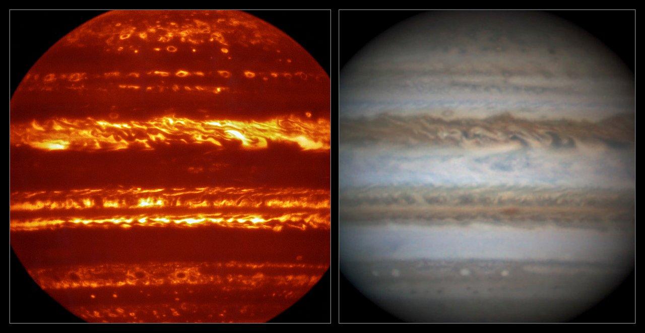 Srovnání snímku pořízeného v infračervené oblasti přístrojem VISIR (vlevo) a detailního záběru ve viditelném světle (vpravo) pořízeného amatérským astronomem zhruba ve stejném čase. Kredit: ESO/L.N. Fletcher/Damian Peach