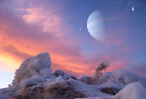 Exoplaneta s měsíci v představě malíře