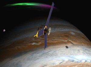 Sonda Juno nad povrchem planety Jupiter - kresba.