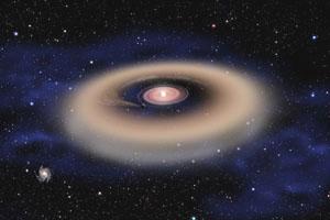 Prachový prstenec v okolí hmotné hvězdy