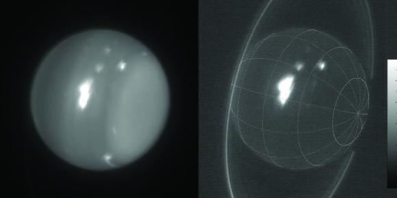 Infračervené snímky Uranu ukazují bouři z 6. srpna 2014. Snímky jsou pořízeny 10 metrovým dalekohledem Keck. Zdroj: Imke de Pater  (UC Berkeley) & Keck Observatory.