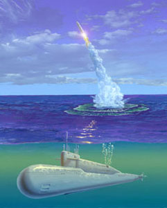 Start balistické rakety z ruské ponorky