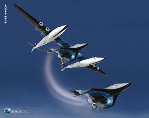 SpaceKnightTwo a SpaceShipTwo - kresba.