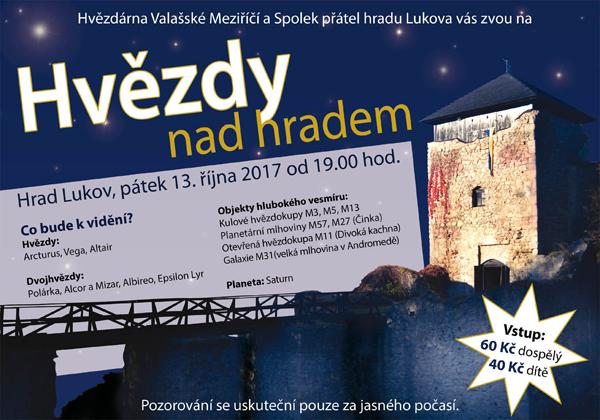 pozvánka na pozorování 13. 10. 2017 od 19:00 na hradě Lukov