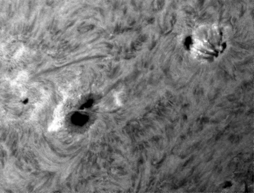 Aktivní oblast NOAA 11734 zde dne 08. 05. 2013 (08:45:56 UT) blížící se k západnímu limbu.