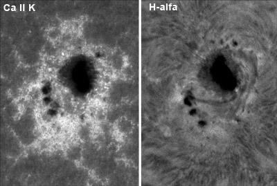 Aktivní skupina NOAA 12158 ve dvou různých vrstvách sluneční atmosféry. Levá část snímku ukazuje tuto oblast ve spektrální čáře Ca II K, tedy ve spodní vrstvě chromosféry.V pravé části je podoba aktivní skupiny ve vyšší vrstvě chromosféry