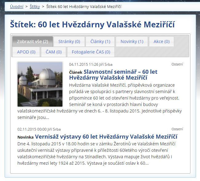Náhled článku o výročí hvězdárny na webu astro.cz