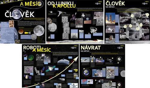 Panely výstavy Člověk a Měsíc